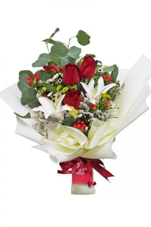 white-lilies-and-red-rose